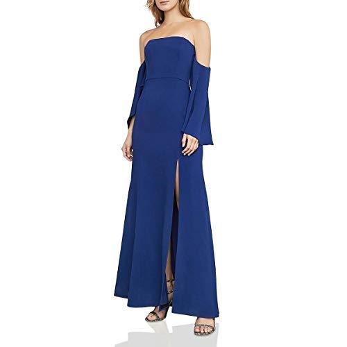 BCBG Max Azria Womens Simone Off-The-Shoulder Full-Length Evening Dress Blue 6