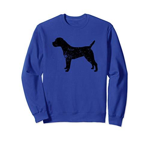 - Distressed Border Terrier Silhouette Dog Owner Sweatshirt