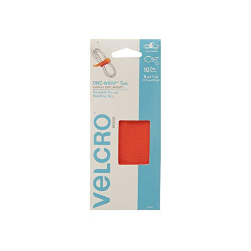 VELCRO Brand ONE-WRAP Ties | Cable Management, Wires & Cords | Self Gripping Cable Ties, Reusable | 10 Ct -  5 x 1/4 | Orange