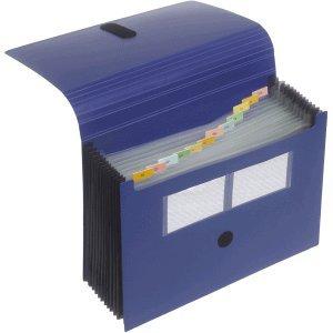 FolderSys–Cartella portadocumenti A4in polipropilene, 12scomparti chiusura in velcro blu scuro