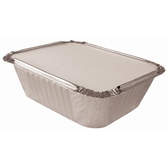 Stalwart CD948 Foil Board Lids on top of Rectangular Containers Pack of 1000