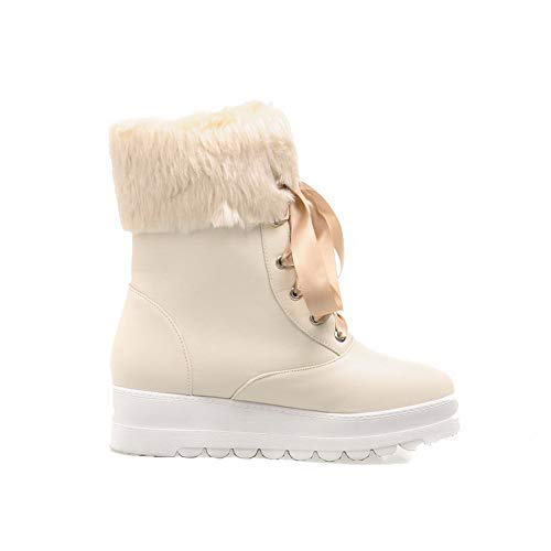 AgooLar Low Solid GMDXB122816 Low Top Heels Boots Lace Up Beige Pu Women's 1rRYpr