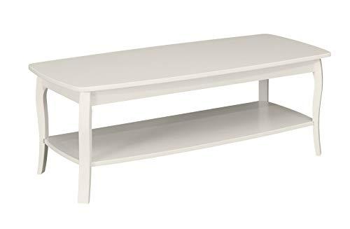 "Ravenna Home Anne Marie Wood Shelf Curved Leg Storage Coffee Table, 52.5""W, White"