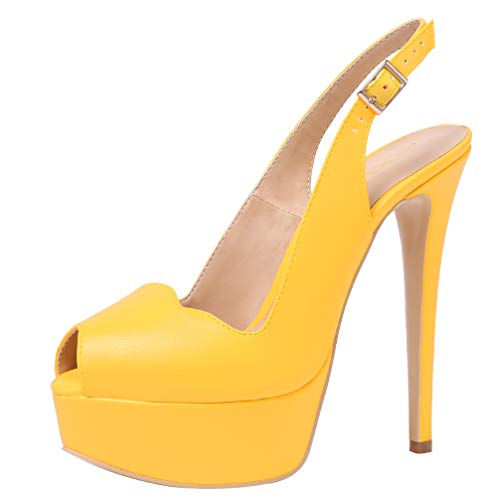 AOOAR Women's Slingback High Heels with Platform Yellow PU Party Pumps 9 M US ()