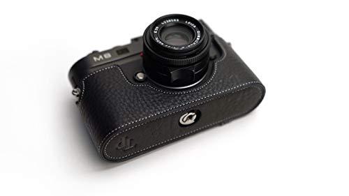 Leica M8 Case, BolinUS Handmade Genuine Real Leather Half Camera Case Bag Cover for Leica M8 M9 M9P M-E Camera with Hand Strap -Black