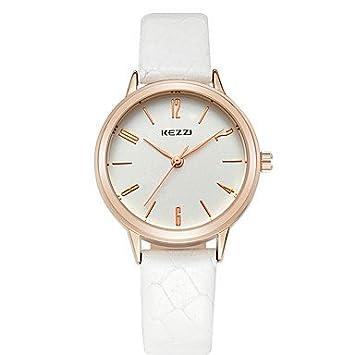 Sports watches Relojes de Hombre Pareja Reloj de Pulsera Cuarzo/Piel Banda Cool/Casual Negro/Blanco/Marrón Marca Relojes de Mujer (Color : Blanco, ...
