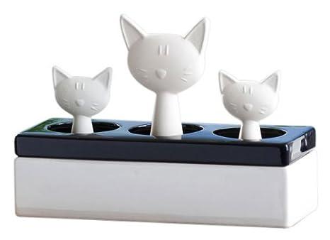 Wenko 52608100 - Humificador de aire de cerámica, con motivo Familia de Gatos, 22 x 15.5 x 8.5 cm, color blanco y negro: Amazon.es: Hogar