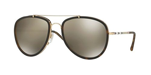Burberry Unisex 0BE3090Q Brushed Gold/Dark Havana/Light Brown/Mirror Gold One - Men Sunglasses Burberry