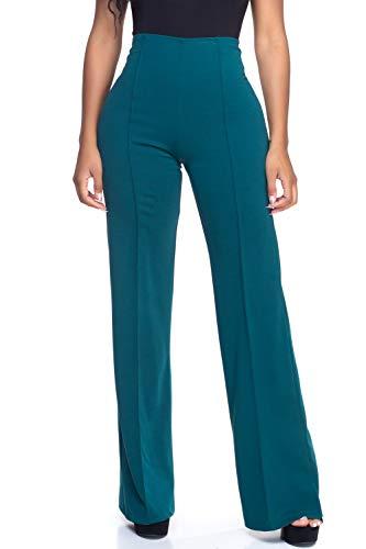 Flare Dress Pants - Cemi Ceri Women's High Waist Dress Pants, Small, Forest Green