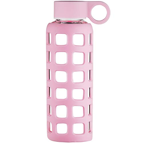 Pink Pale Glass - Origin Best BPA-Free Borosilicate Glass Water Bottle with Protective Silicone Sleeve and Leak Proof Lid - Dishwasher Safe (Pale Pink, 12 Oz)