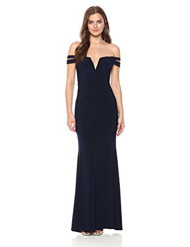 Xscape Women's Long Off The Shoulders Dress, Navy, 4
