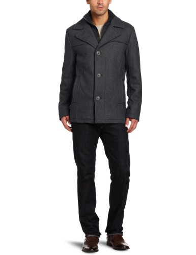 Kenneth Cole New York Men's Melton Single-Breasted Coat at Amazon ...