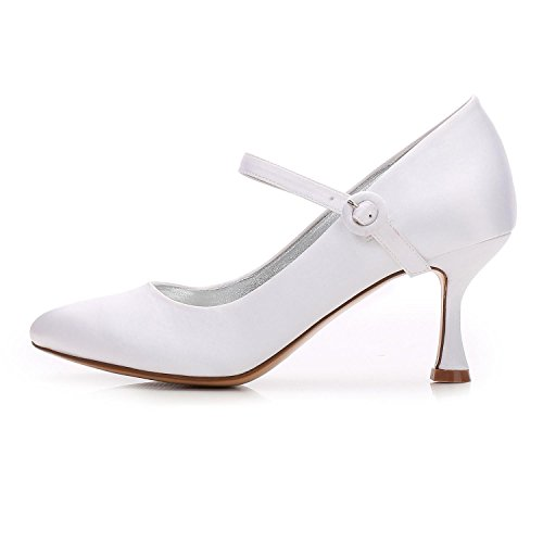 L@YC Women's Wedding F17061-27 Almond Toe High Heels Satin Party Court/Wedding Shoes Custom White MTyRRkkv