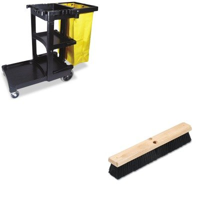 KITBWK20218RCP617388BK - Value Kit - Boardwalk Floor Brush Head (BWK20218) and Rubbermaid Cleaning Cart with Zippered Yellow Vinyl Bag, Black (RCP617388BK) by Boardwalk