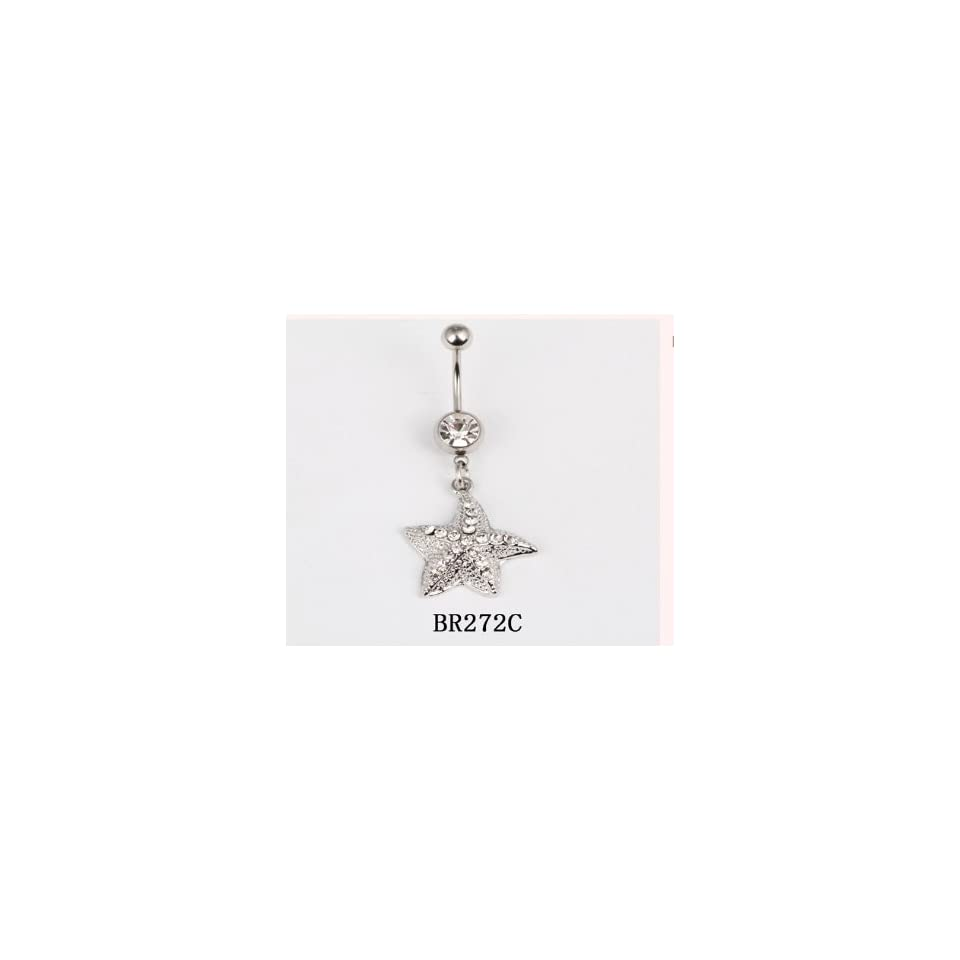 3 X Wholesale Lot 316L Surgical Stainless Steel 14g STARFISH Crystal Rhinestone Gem Bar Navel Belly Ring Body Jewelry BR272C