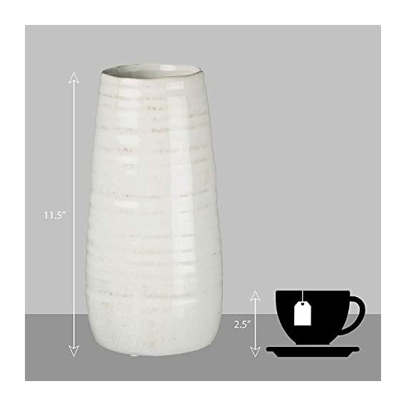 "Sullivans Ceramic Vase, 11.5 x 5 Inches, Distressed White (CM2496) - Stylish ceramic vase makes a great wedding, housewarming or birthday gift Ideal decorative touch to any home with or without floral or greenery added Product Dimensions: 5""L x 5""W x 11.5""H; Waterproof - vases, kitchen-dining-room-decor, kitchen-dining-room - 319ICmkG5XL. SS570  -"