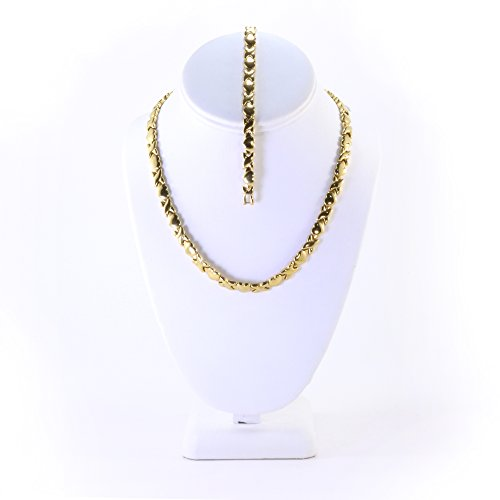 Kisses Stampato Bracelet (Hugs and Kisses Stainless Steel Stampato Necklace and Bracelet Set Gold Tone)