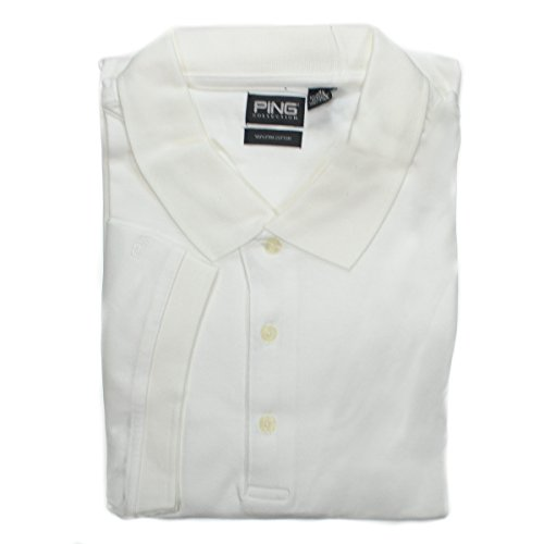 Driver Short Sleeve Pique Shirt (PING Apparel Men's 4XL Bright White Short Sleeve Golf Polo Shirt # 490 Cotton)