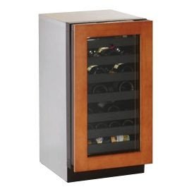 Refrigerator Overlay - 31 Bottle Single Zone Wine Refrigerator Lock: No, Hinge Location: Left, Finish: Wood Overlay