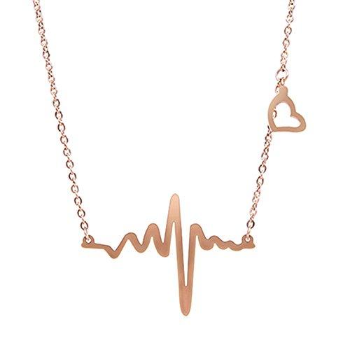 RoseSummer Electrocardiogram Pendant Heartbeat Necklace product image