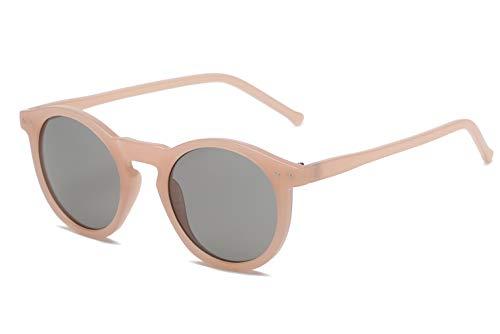 (ANAIS GVANI Retro Vintage Fashion Circle Round Women Men Designer Sunglasses (Tan))