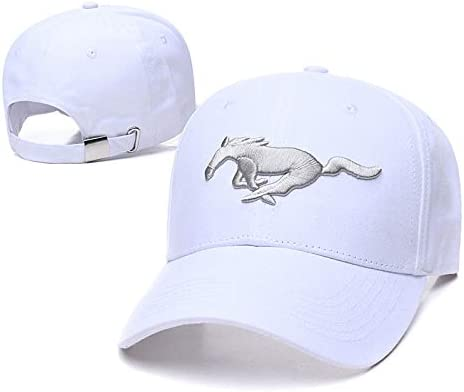 Yoursport Car Logo Embroidered Baseball Cap Unisex Adjustable Hat Travel Cap for Man,Women White Fit Mustang Accessorie
