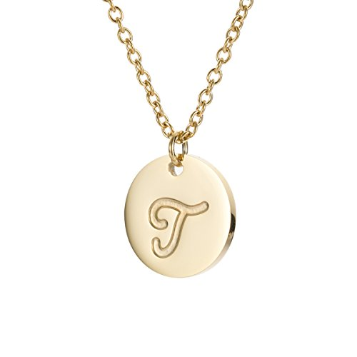 HUAN XUN T Initial Necklace 14k Gold Stainless Steel Delicate Jewelry