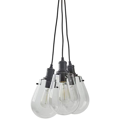Stone Beam Melissa Industrial Round Glass Cluster Pendant Chandelier Fixture With 3 Light Bulbs – 6.75 x 6.75 Inches, 13.5 – 62.5 Inch Cord, Black