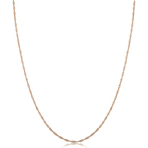 Kooljewelry 10k Rose Gold 0.7 mm Singapore Chain Necklace (14 inch) (10kt Gold Chain 24 Inch)