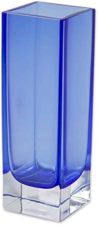 NOVICA Decorative Murano Glass Vase, Blue, Radiance in Blue