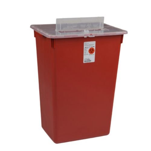 Covidien 31156550 Sharps-A-Gator Sharps Container, Split Lid, 7 gal Capacity, Red (Pack of 10)