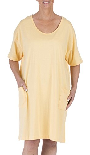 Amy Alder Cotton Solid Sleep Shirt Nightshirt Sleepshirt Nightdress Cover Ups Coverup Pocket (One Size Fits Most, Yellow)