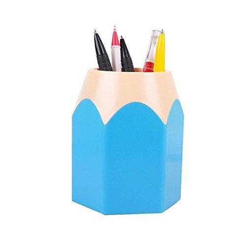 Gbell Pen Holder Makeup Brush Vase Desk Pencil Pot Stationery Storage Gift,Blue Pink Green Purple Red (Blue)