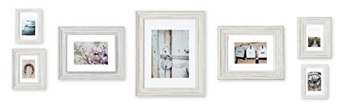 Gallery Perfect 7 Piece Distressed White Photo Frame Wall Gallery Kit. Includes: Frames, Hanging Wall Template, Decorative Art Prints and Hanging Hardware