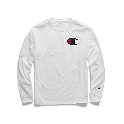 bc6d05cc Champion Men's Classic Jersey Long Sleeve Graphic T-Shirt, White/Big c Logo