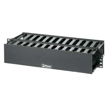 Panduit WMP1E Horizontal Cable Manager, Black, 2 RU, Black