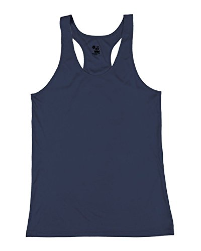 Navy Blue Girls Large B-Core Moisture Wicking Racerback Tank Sports Top by Badger Sport
