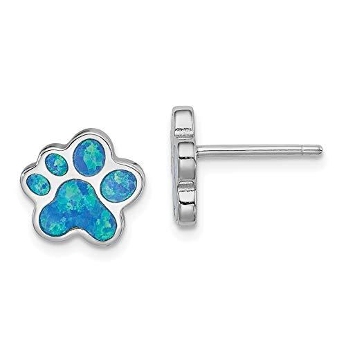 Created Blue Opal Inlay Paw...