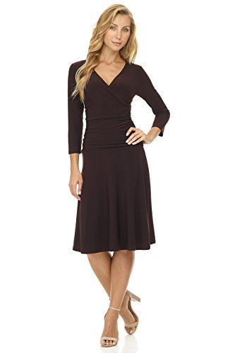 Rekucci Women's Slimming 3/4 Sleeve Fit-and-Flare Crossover Tummy Control Dress (12,Espresso)