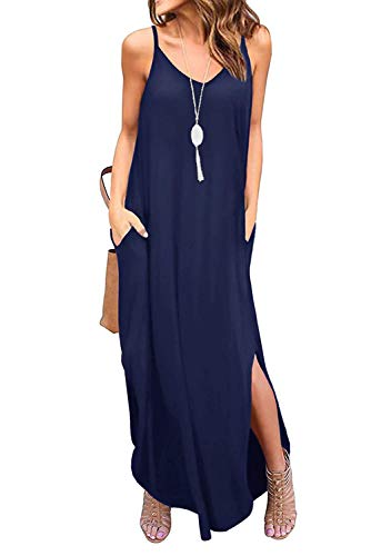(Donnalla Womens Summer Casual Loose V-Neck Dress Spaghetti Strap Sleeveless Split Maxi Dresses(Navy Blue XX-Large))