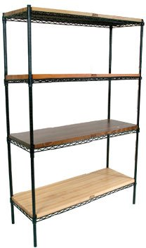 John Boos EP-184866-BK Zinc Based Epoxy Coated Wire Shelving Kit, 66'' Tall Posts, 48'' Length x 18'' Width Shelves, Black