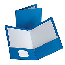 Oxford Laminated Twin-Pocket Folders, Blue, Pack Of 10 (51751) (Laminated Twin Pocket Portfolios)