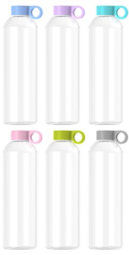 purifyou Premium Glass Water Bottle with Silicone Sleeve and Stainless Steel Lid, 12 / 22 / 32 oz (6 Pack, 22 oz) by purifyou (Image #8)