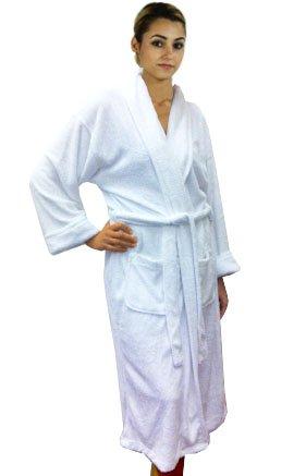 Solid Hotel Spa Women's Bathrobe, 100% Bamboo Plush, Long, White, One Size