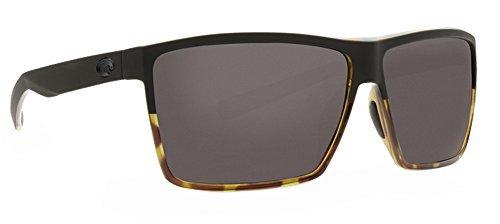 Costa Rincon Sunglasses Matte Black Shiny Tortoise Frame/ Gray 580P Plastic Lenses