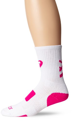 (ASICS Team Tiger Crew Socks, White/Pink Glo, Small)