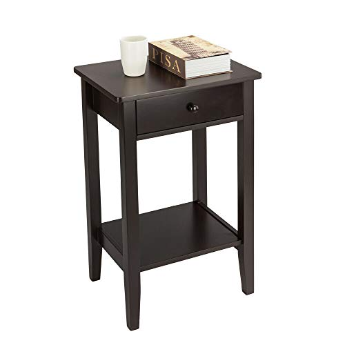 AK Energy Nightstand End Table Bedroom Bottom Space Storage Shelf Multipurpose Home Coffee Color w/Round Handle Drawer