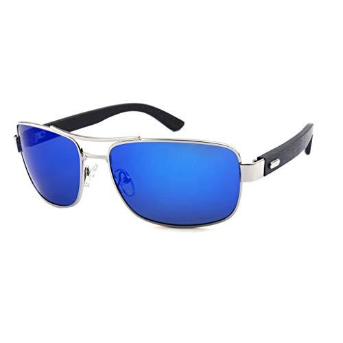 Oscuro polarizadas Gafas de Gafas de Azul sol metálico clásicas del bambú Gray conducción Unisex Color Marco bambú Gafas w40qHT