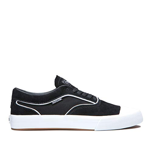 Supra Footwear - Hammer VTG Low Top Skate Shoes, Black-White, 10.5 M US Women/9 M US Men