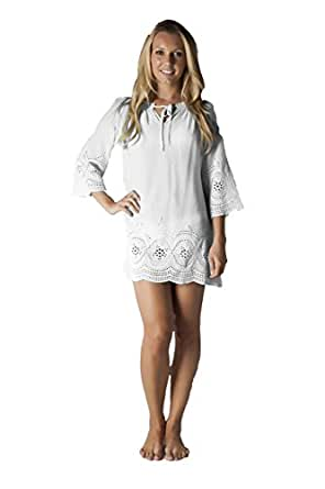 Cotton Swimsuit Cover up Tunic with Eyelet Embroidery - (L 12, White)